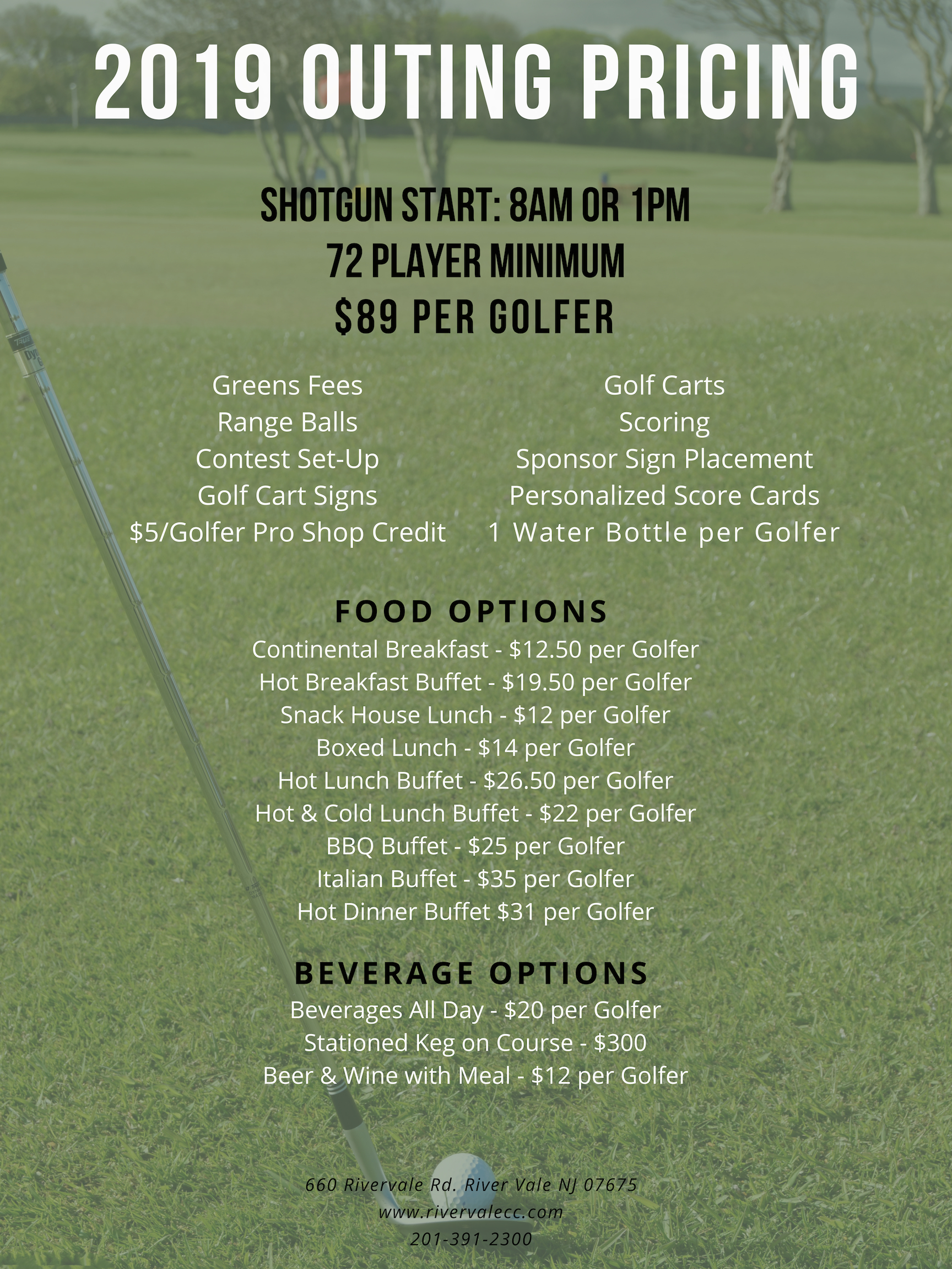 2019 Outing Pricing